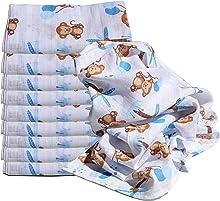 Clevere Kids Mulltücher | 10er Pack Spucktücher | Sterne und Tiere | OEKO-TEX | doppelt gewebt (Freche Äffchen blau)
