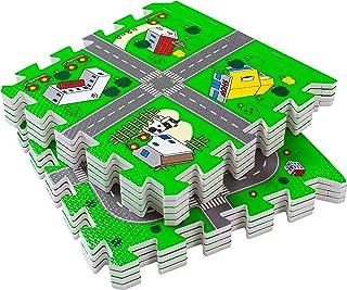 BodenMax® Tapis de Jeu Puzzle pour Enfant et Bébé - Circuit de Ville avec Routes - Dalles de Protection en Mousse Emboîtab...
