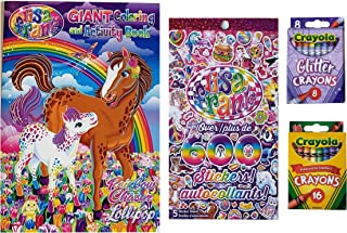 Lisa Frank Activity Set with Coloring and Activity Book, Sticker Booklet, and Crayola Crayons - 4 Piece Bundle