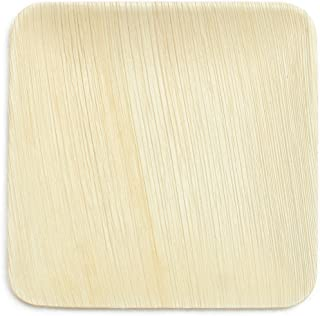 Leaf & Fiber 100 Count Elegant and Fallen Square Palm Leaf Plate, 6-Inch