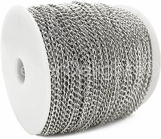 CleverDelights Curb Chain Spool - 3x5mm Link - Antique Silver (Platinum) Color - 330 Feet - Bulk Chain