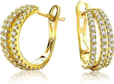 Miore Orecchini Donna Cerchio Diamanti taglio Brillante ct 0.6 Oro Giallo/Bianco 18 Kt / 750