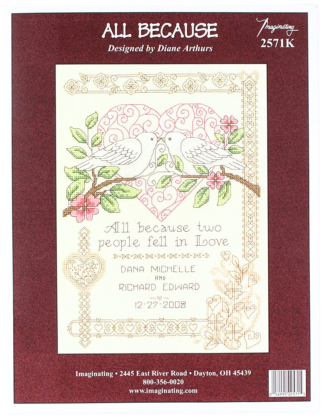 M & R Technologies All Because All Because Wedding Record Counted Cross Stitch