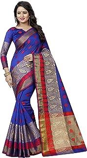 SATYAM WEAVES Women's Handloom Poly Cotton Saree With Blouse Piece (MANGO BLUE_Blue)