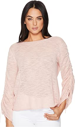 TWO by Vince Camuto Drawstring Bell Sleeve Pointelle Sweater
