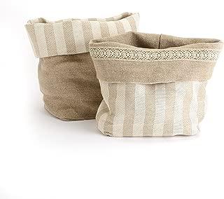"Modigliani Fine Italian Reversible Cloth Bread Basket Italian Dinnerware ""Binacheria"" Collection – Italian Table Linen Basket for Serving Bread"