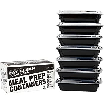 Evolutionize Healthy Meal Prep Containers - Certified BPA-free - Reusable, Washable, Microwavable Food Containers/Bento Box with Lids (7 Pack, Single Compartment, 28 Ounce)