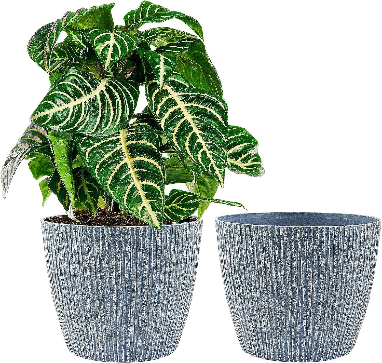 Flower Pots, KOTAO Outdoor Indoor Garden Plant Pots with Drainage Holes, 10 Inch Planters , Stone Pattern Blue, Set of 2