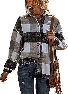 Womens Casual Plaid Button Down Long Sleeve Wool Blend...