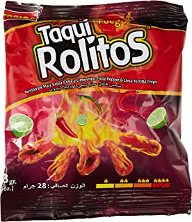 Fuego Taqui Rolitos Hot Chilli Paper and Lime Tortilla Chips, 28 gm