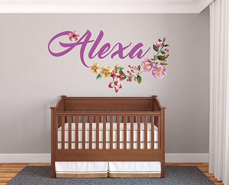 Custom Name Beautiful Flowers Prime Series Baby Girl Nursery Wall Decal For Baby Room Decorations Mural Wall Decal Sticker For Home Children S Bedroom R10 Wide 22 X12 Height