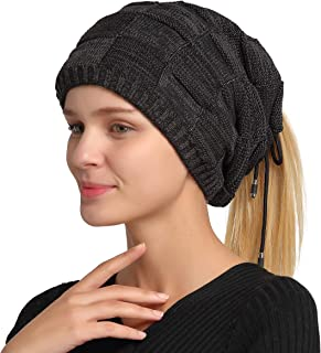 Womens Multifunctional Winter Ponytail Beanie Slouchy Hat Scarf Neck Warmer Black