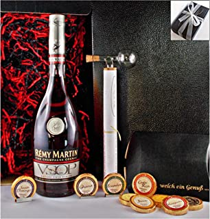 Geschenk Cognac Remy Martin VSOP  9 Edel Schokoladen in 9 Sorten  1 Glaskugelportionierer