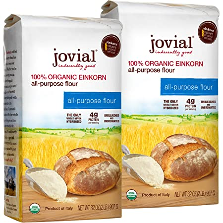 Jovial Einkorn Baking Flour   100% Organic Einkorn All Purpose Flour   High Protein   Non-GMO   USDA Certified Organic   Delicious Taste   Product of Italy   32 oz (2 Pack)
