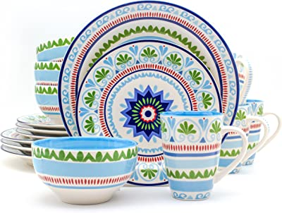 Euro Ceramica Marrakesh Collection 16 Piece Ceramic Dinnerware Set, Service for 4, Multicolor