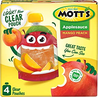 Mott's Mango Peach Applesauce, 3.2 Ounce Clear Pouch, 4 Count (Pack of 6), Perfect for on-the-go, Gluten Free and Vegan