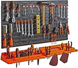 Tableau perforé + étagère pour organiser les outils VonHaus - Porte-outils mural de garage - Mural/Fixations, avec 50 crochets divers