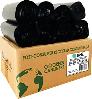 Reli. Recyclable Eco Friendly 16-30 Gallon Trash Bags (200 Count, Black) Made from Recycled Material - 16 Gallon - 30 Gallon Black Garbage Bags