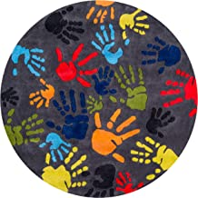 Momeni Rugs Lil' Mo Whimsy Collection, Kids Themed Hand Carved & Tufted Area Rug, 5' Round, Multicolor Handprints on Grey