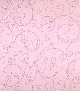 York Wallcoverings Disney Kids Perfect Princess Scroll Removable Wallpaper, Pink with Glitter