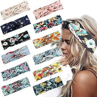 LOLIAS 8-12 Pack Headbands for Women Crochet Turban Winter Headband Elastic Boho Yoga Head Wrap