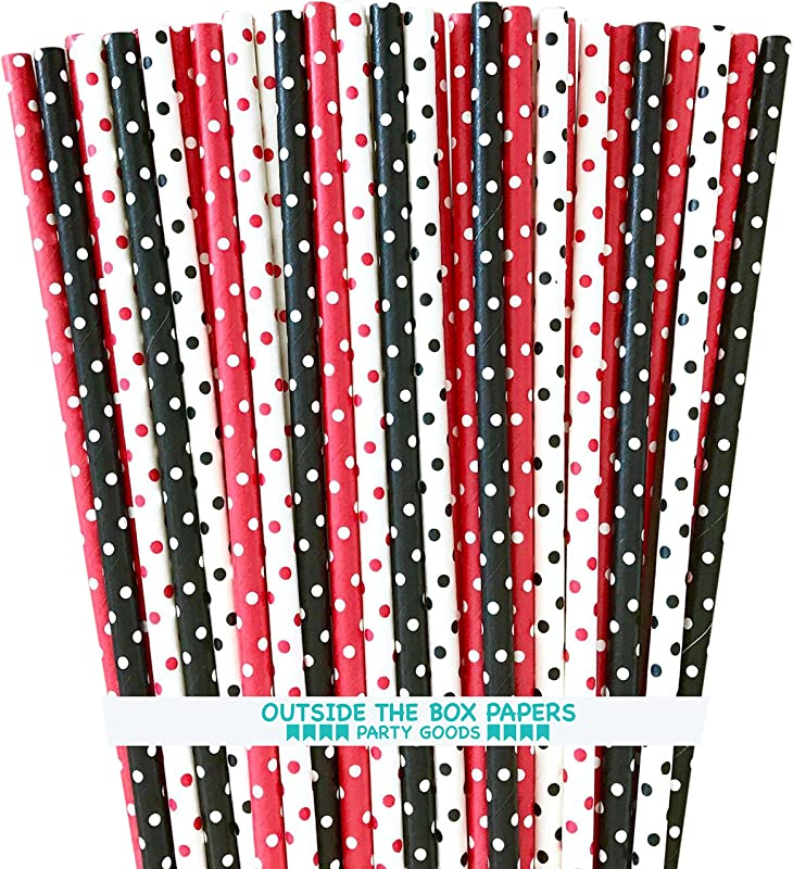 Paper Drinking Straws Black Red And White Polka Dot Ladybug Theme 7 75 X 25 Inches 100 Pack Outside The Box Papers Brand