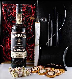 Geschenk Jameson Caskmates irischer Whiskey  Glaskugelportionierer  Edelschokolade  Fudge