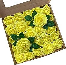 ACDE Flores Artificial, Rosa Artificial 25PCS Rosa Falsa Espuma Mirada Real con Hoja y Vástago Ajustable para Bricolaje Ramos de Boda Decoraciones para el Hogar Nupciales (Amarillo)