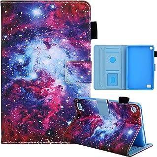 Nova capa flip de poliuretano colorido multifuncional pintado para Amazon Kindle Fire 7 2015/2017/2019 capa protetora (céu...