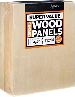 Artlicious - 3 Gallery Profile Super Value Wood Panel Boards - Great Alternative to Canvas Panels, Stretched Canvas & Canvas Rolls (11x14, Gallery Profile)