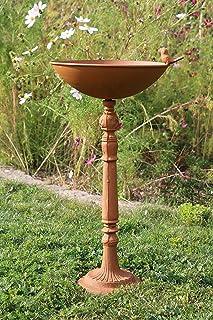 AmaCasa - Bebedero para pájaros con pie (hierro, 28,5 x 28 x 55 cm), color marrón