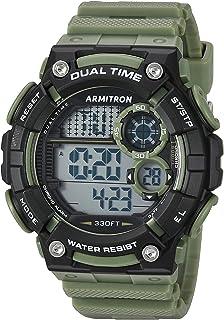 ساعة ارمترون سبورت للرجال 40/8445DGN رقمية كرونوغراف بسوار من الراتنج لون اخضر داكن