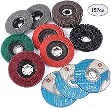 SI FANG 15Pcs 4.5 inch Flap Disc Abrasive Grinding Polishing Wheels Mix Include Grit 60 80 120 240 320 Set For Angle Grinder Assorted Strip Disc Felt Polishing Disc Nylon Polishing Disc Cut Off Wheels