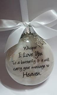 Sympathy Gift - Whisper to a Butterfly w/ Charm - In Memory of Loved One Memorial Christmas Ornament
