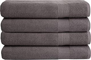 Bella 4 PK Bath Towel Set – 100% Combed Cotton 550 GSM, Ultra Soft, Absorbent, Popcorn Weave – Variety of Colors