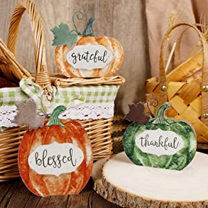 Adroiteet Thanksgiving Fall Decorations Wooden Pumpkin, Set of 3 Tabletop Signs Grateful Blessed Thankful Tiered Tray Ornaments for Autumn Harvest Home Kitchen Decor