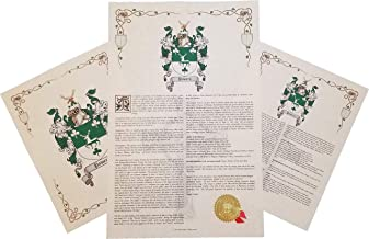Ashbaugh Coat of Arms, Family Crest & History 3 Print Combo - Name Meaning Plus Genealogy, Family Tree Research - Surname Origin: Germany/German
