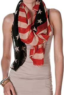 Womens Vintage American Flag Scarf, American Flag, One Size