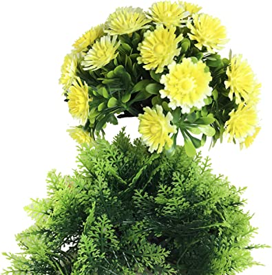 MIMOB Plastic Artificial Bonsai Plant for Home and Office Decoration (Yellow)