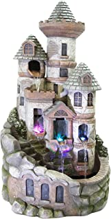 Alpine Corporation Tower Castle Fountain with LED Lights - Decor for Outdoor Garden, Patio, Deck, Porch - Yard Art Decoration