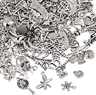 Naler 120pcs misti stili retrò argento ciondolo charm per gioielli fai da te, portachiavi, bracciale, collana, orecchini, ...