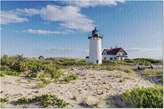Cape Cod, New England, Massachusetts - Race Point Light Lighthouse in Beach Dunes & Grass 9017460 (Premium 1000 Piece Jigsaw Puzzle for Adults, 20x30, Made in USA!)