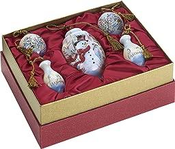 Ne'Qwa Art Hand Painted Blown Glass Birch Forest Snowman Gift Set (Set of 5), Multicolor