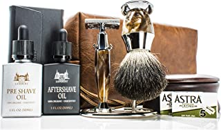 Maison Lambert Ultimate Shaving Kit Set with Organic Shaving Soap, Aftershave oil, Wood Shaving Bowl, 100% Pure Black Badger Shaving Brush and Double Edge Safety Razor and stand. Best fathers day gift