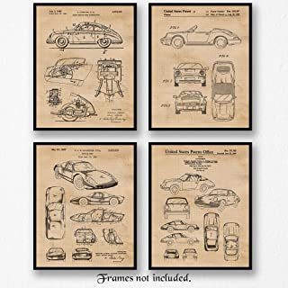 Original Porsche 356, 904, 911 Collection Patent Poster Prints, Set of 4 (8x10) Unframed Photos, Wall Art Decor Gifts Under 25 for Home, Office, School, Man Cave, College, Germany Cars & Coffee Fan