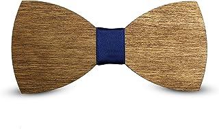 Pajarita de Madera - Accesorios para Traje de Fiesta, Ceremonia y Bodas - Pajarita Ajustable con Tirantes de Poliester - Hecho a Mano en Italia - Corbata Moderna de Moda - Regalo para Hombres
