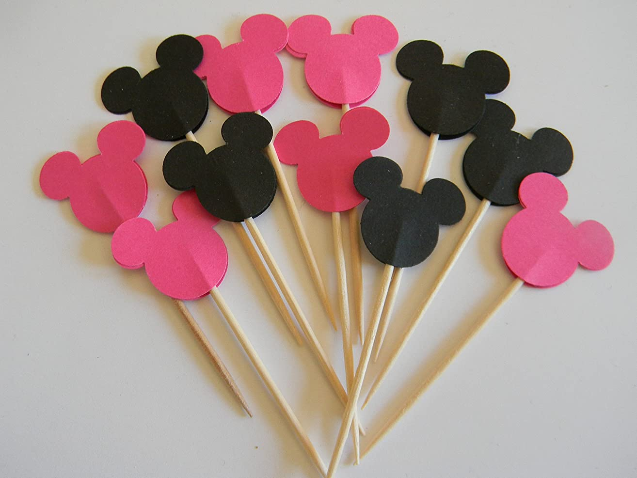 24 Mickey Mouse Mixed Hot Pink and Black inspired cupcake toppers food picks birthday party décor shower supplies