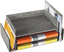 Weathered Gray Wood 3-Tier Office Desktop Document Tray & Mail Sorter Organizer Rack