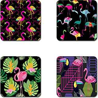flamingo silhouette painting brash coasters- 4 inch diameter-Square - neoprene coasters- Eco-Friendly, Made From 100% Recycled Rubber(Set of 4 )