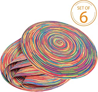 Braided Colorful Round Place mats for Kitchen Dining Table Runner Heat Insulation Non-Slip Washable Fall Placemats Set of 6